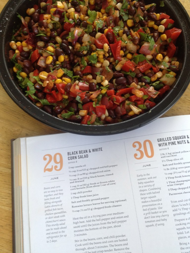 photo of Black Bean & White Corn Salad prepared and with page of cookbook showing