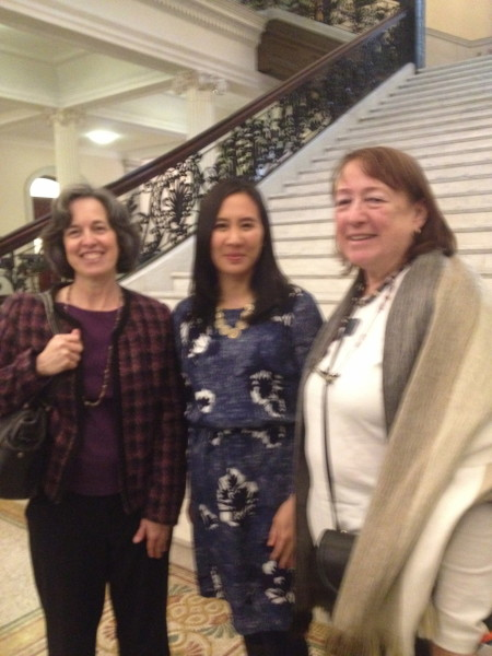 Celeste Ng standing with two of us from the library community at the State House event